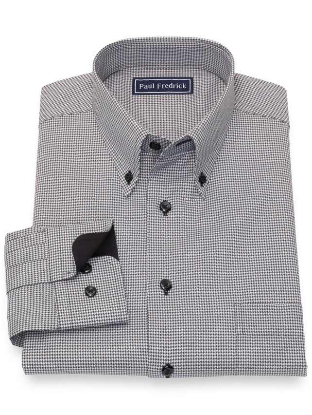 Slim Fit Cotton Houndstooth Casual Shirt
