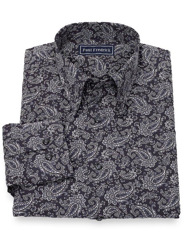 Slim Fit Cotton Paisley Casual Shirt