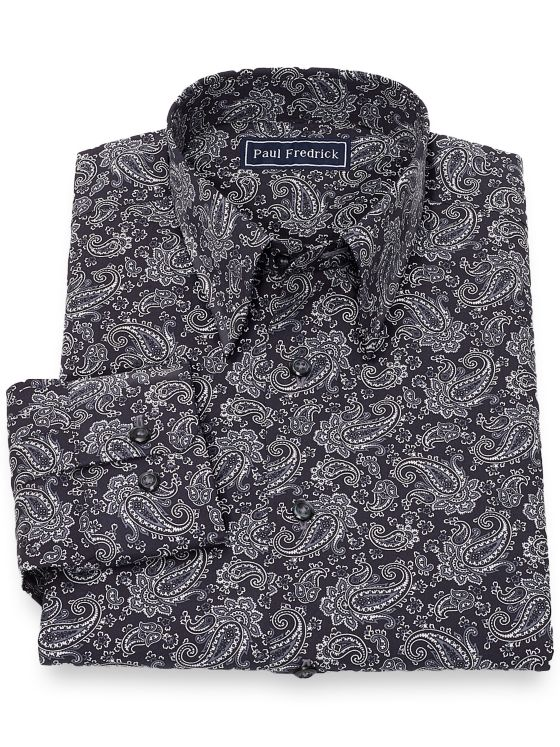 Slim Fit Cotton Paisley Casual Shirt