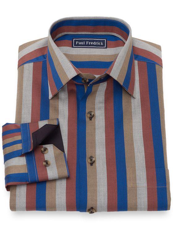 Cotton Herringbone Stripe Casual Shirt