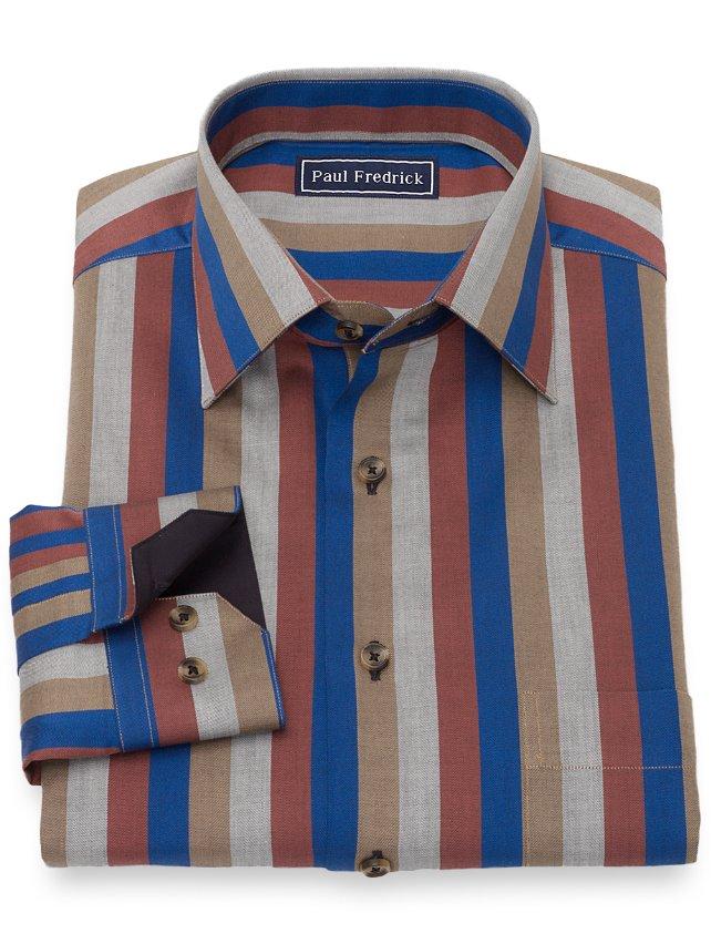 Slim Fit Cotton Herringbone Stripe Casual Shirt