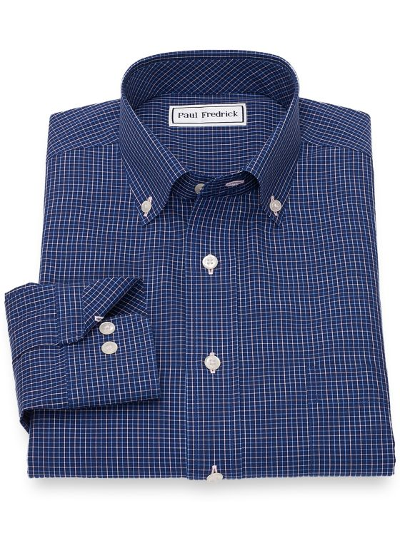 Slim Fit Non-Iron Cotton Tattersall Casual Shirt