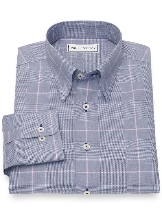 Slim Fit Non-Iron Cotton Glen Plaid Casual Shirt
