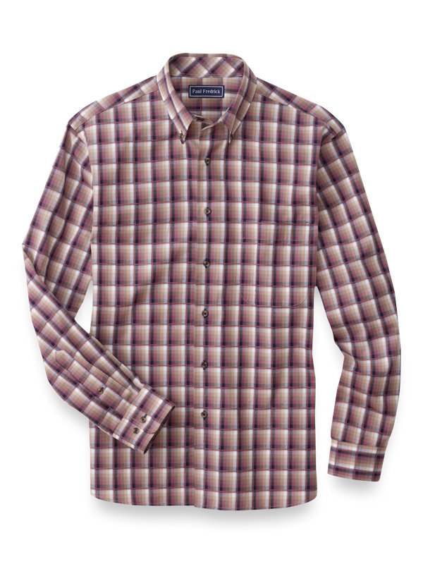 Slim Fit Cotton Flannel Plaid Casual Shirt