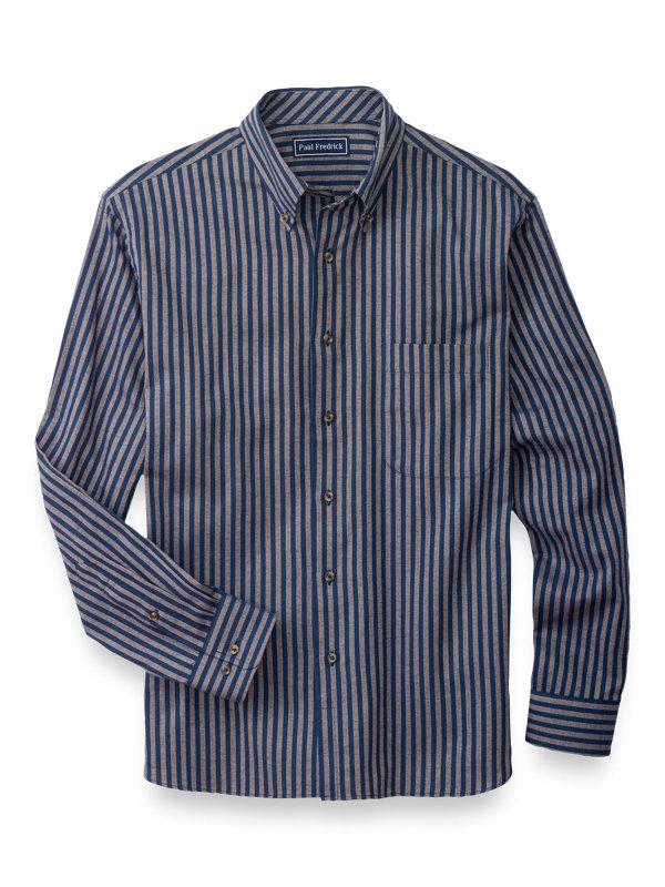 Cotton Flannel Stripe Casual Shirt