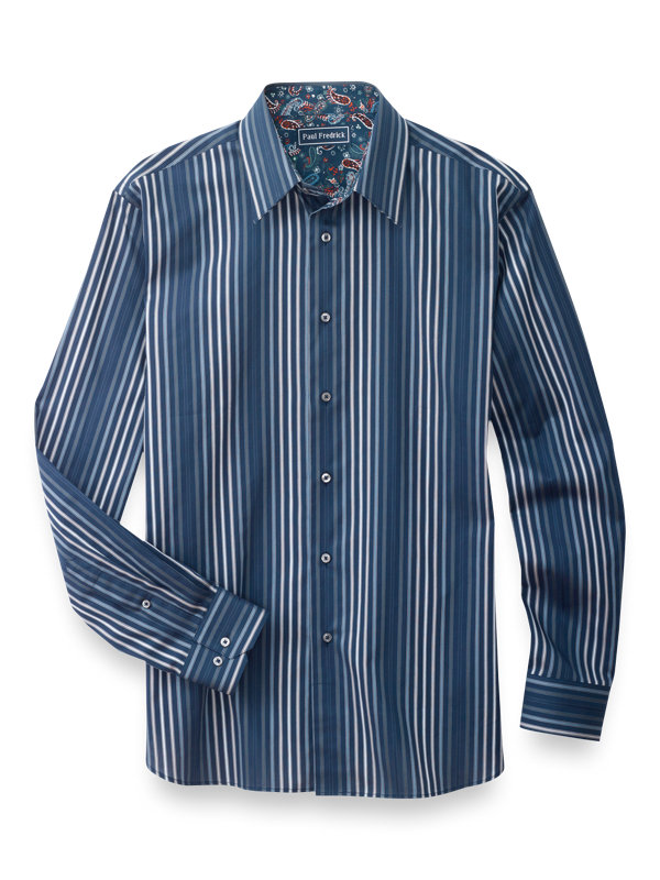 Slim Fit Cotton Stripe Casual Shirt