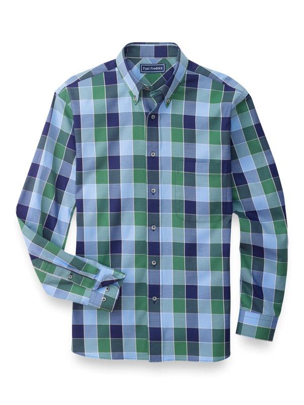 Slim Fit Cotton Buffalo Plaid Casual Shirt