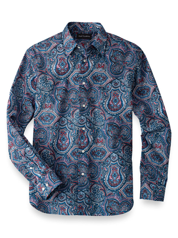 Cotton Paisley Print Casual Shirt