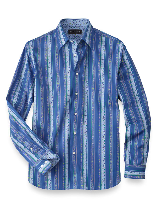 Slim Fit Cotton Stripe Casual Shirt