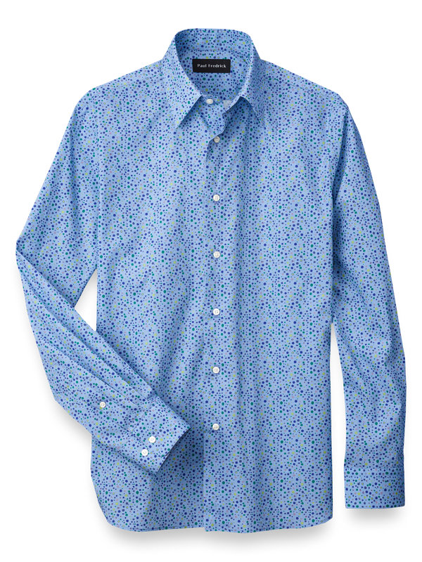 Slim Fit Cotton Dot Print Casual Shirt