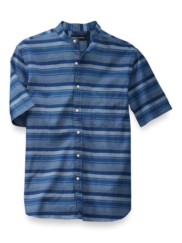 Slim Fit Cotton Horizontal Stripe Casual Shirt