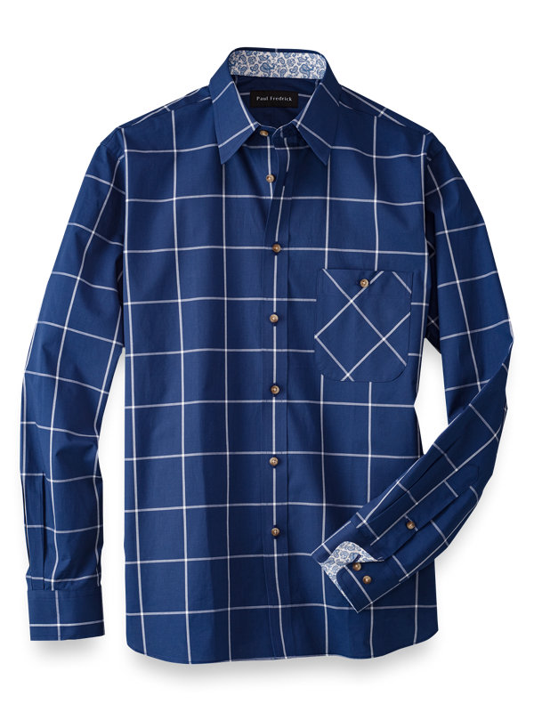 Slim Fit Cotton Windowpane Casual Shirt