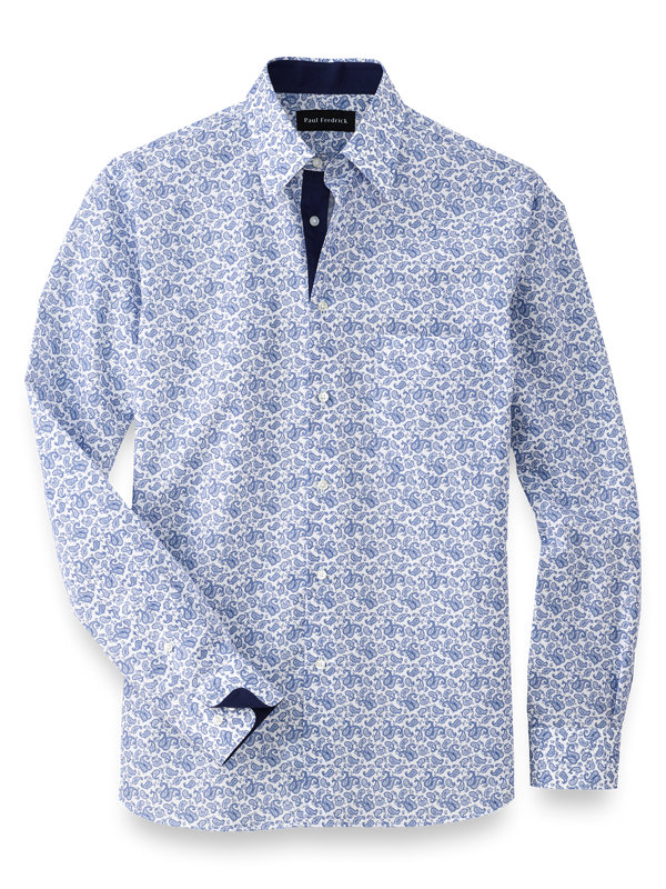 Slim Fit Cotton Paisley Print Casual Shirt