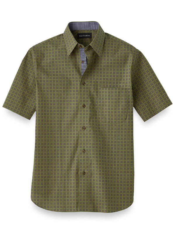 Cotton Tile Print Casual Shirt