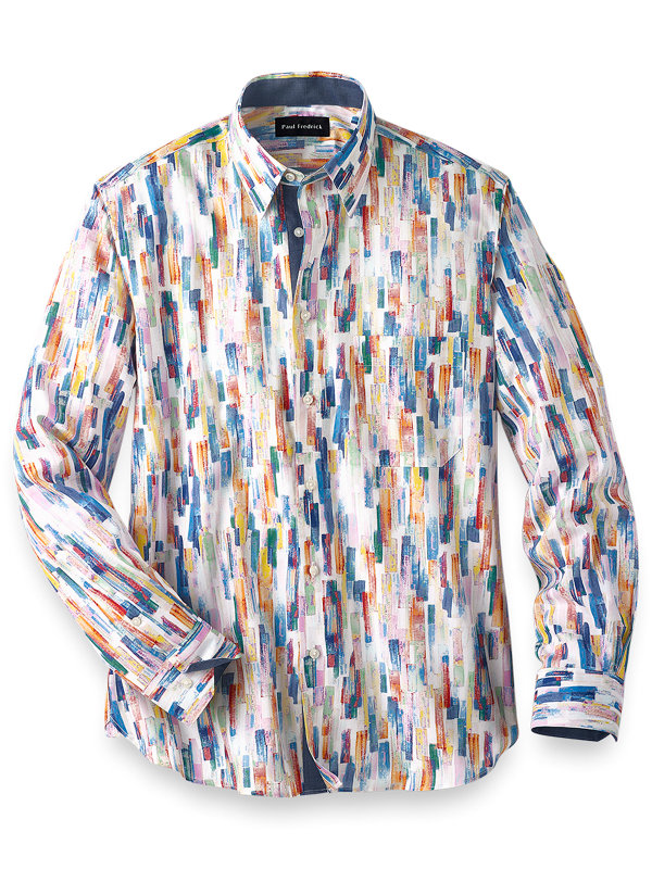 Slim Fit Easy Care Cotton Abstract Stripe Casual Shirt