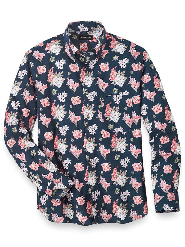 Slim Fit Easy Care Cotton Floral Casual Shirt