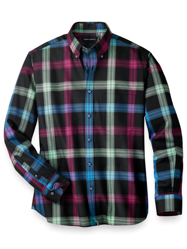 Slim Fit Easy Care Cotton Windowpane Casual Shirt
