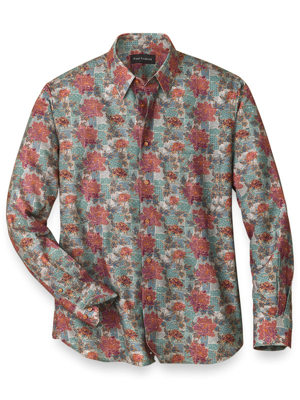 Slim Fit Easy Care Cotton Blend Patchwork Casual Shirt