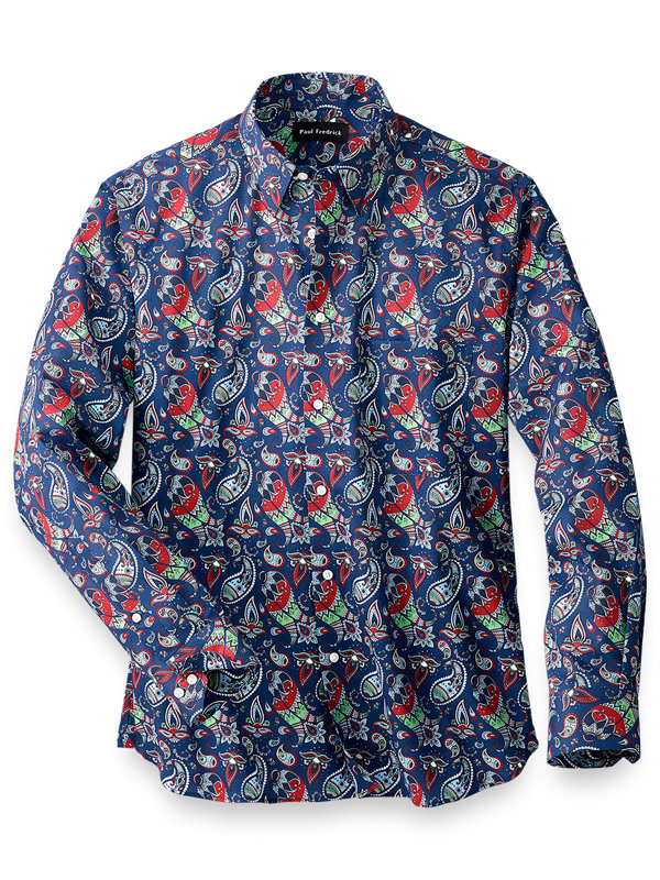Slim Fit Easy Care Cotton Paisley Casual Shirt