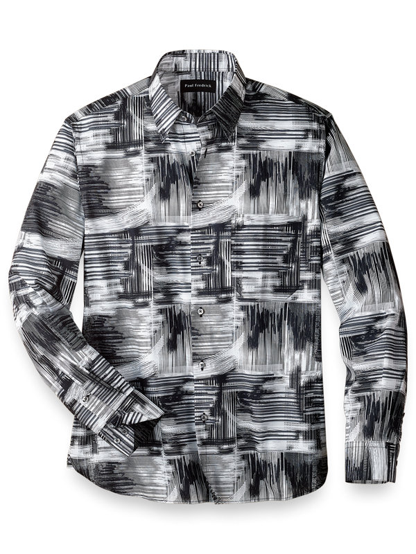 Slim Fit Easy Care Cotton Abstract Casual Shirt