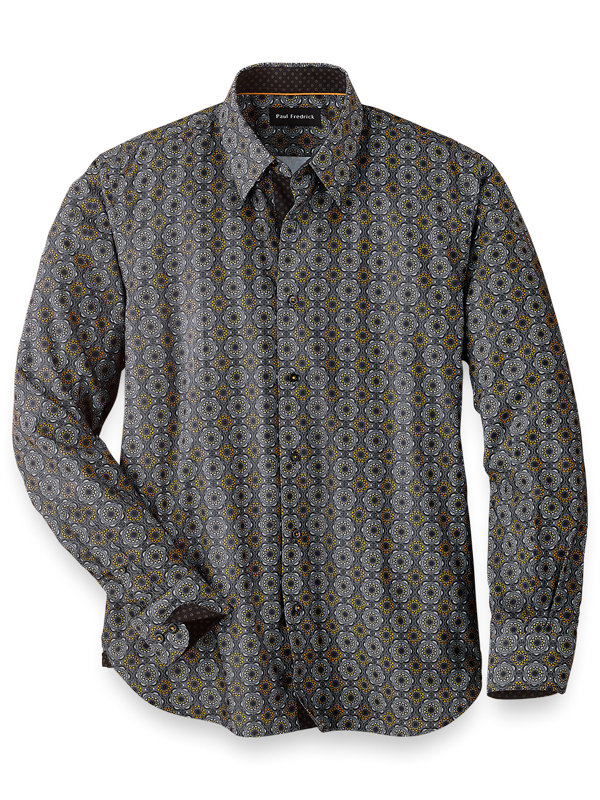 Slim Fit Easy Care Cotton Blend Medallion Casual Shirt