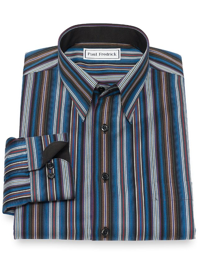 Slim Fit Non-Iron Cotton Stripe Casual Shirt
