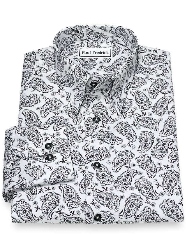 Slim Fit Non-Iron Cotton Paisley Casual Shirt