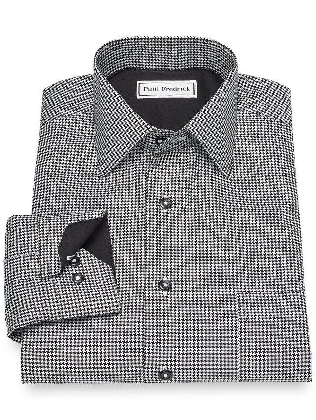Slim Fit Non-Iron Cotton Houndstooth Casual Shirt