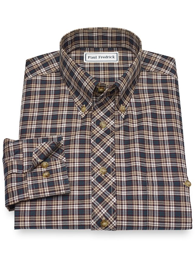 Non-Iron Cotton Plaid Casual Shirt