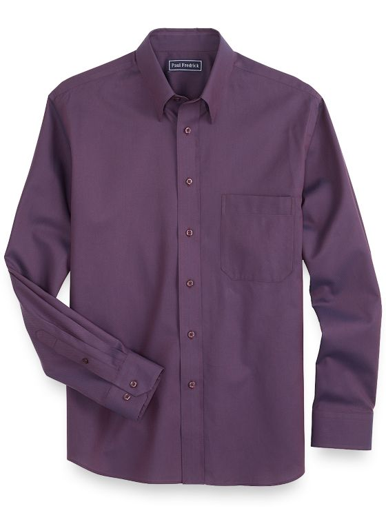 Slim Fit Cotton Textured Twill Casual Shirt