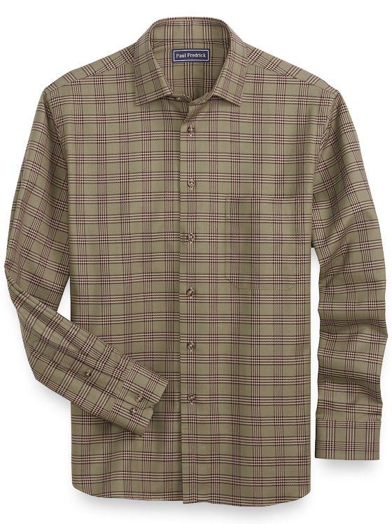 Slim Fit Cotton Glen Plaid Casual Shirt