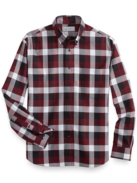 Slim Fit Non-Iron Cotton Buffalo Plaid Casual Shirt