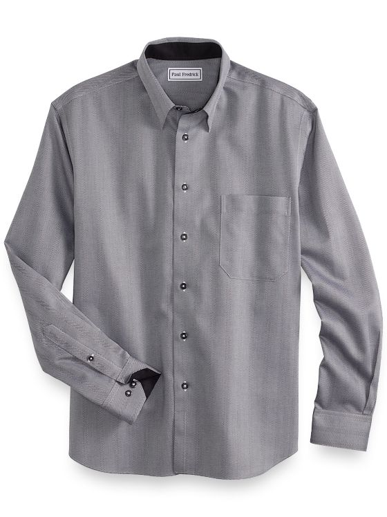 Non-Iron Cotton Herringbone Stripe Casual Shirt