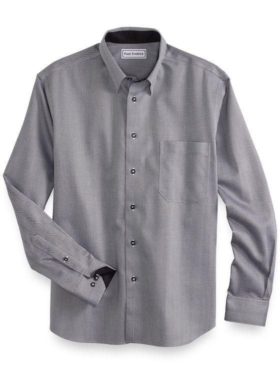 Slim Fit Non-Iron Cotton Herringbone Stripe Casual Shirt