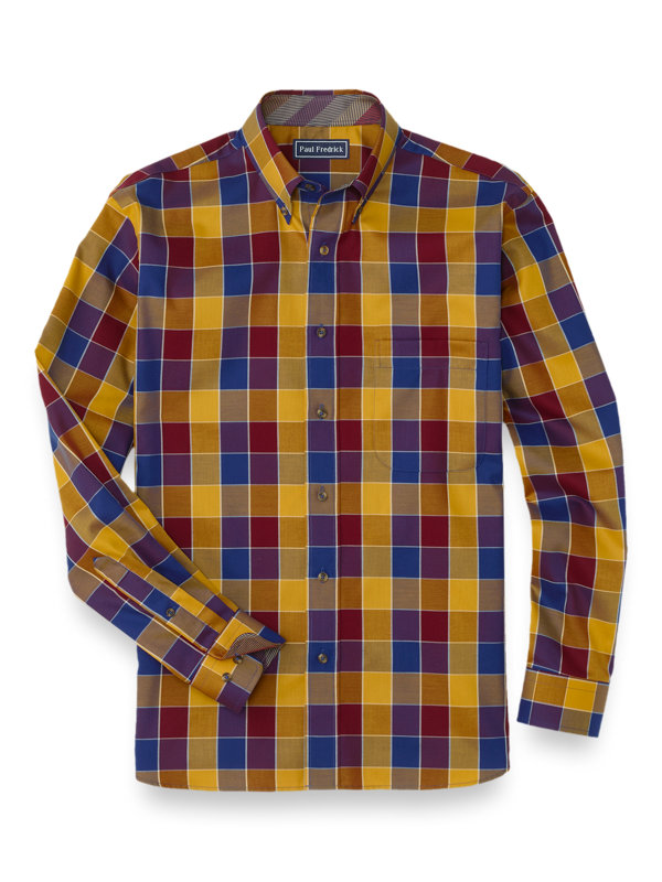 Easy Care Cotton Buffalo Plaid Casual Shirt
