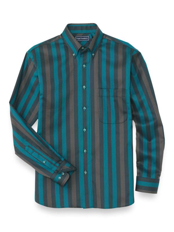 Easy Care Cotton Herringbone Stripe Casual Shirt