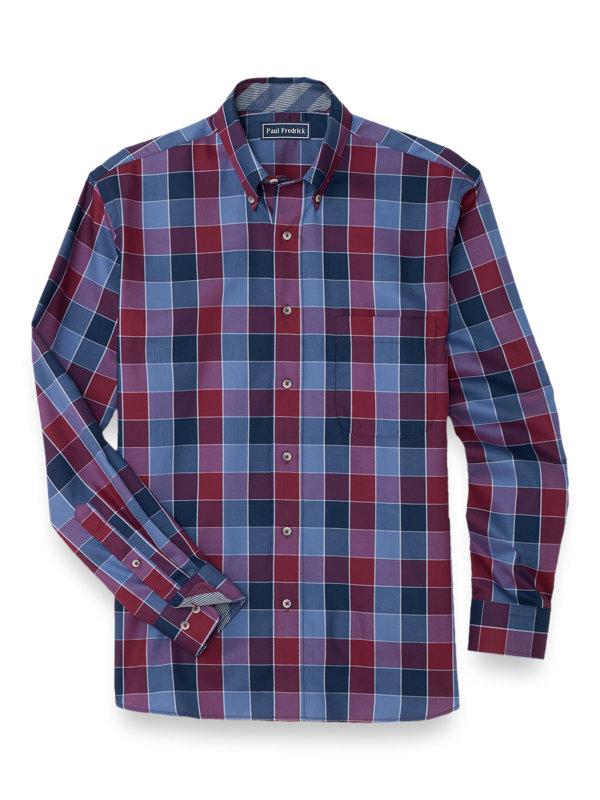 Slim Fit Easy Care Cotton Buffalo Plaid Casaul Shirt