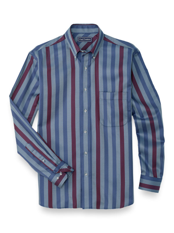 Easy Care Cotton Herringbone Stripe Casual Shirt