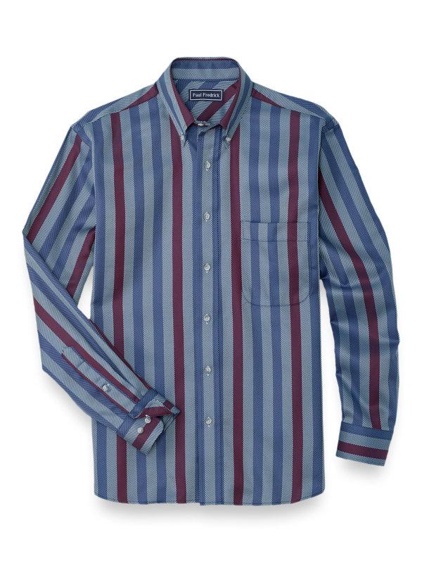 Slim Fit Easy Care Cotton Herringbone Stripe Casual Shirt