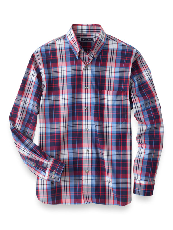 Slim Fit Easy Care Cotton Buffalo Plaid Casaul Shirt