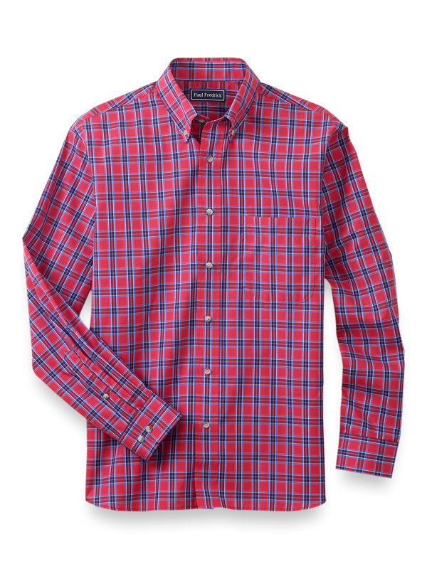 Slim Fit Easy Care Cotton Tartan Casual