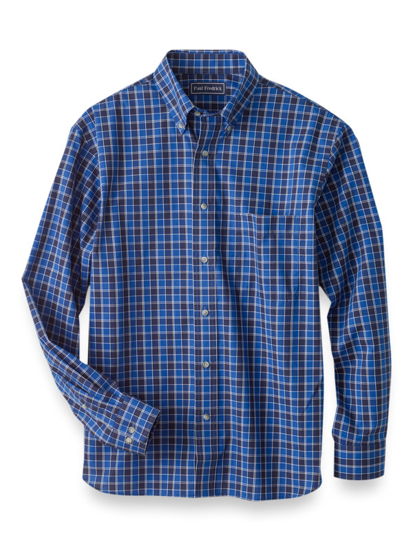 Slim Fit Easy Care Cotton Check Casual Shirt