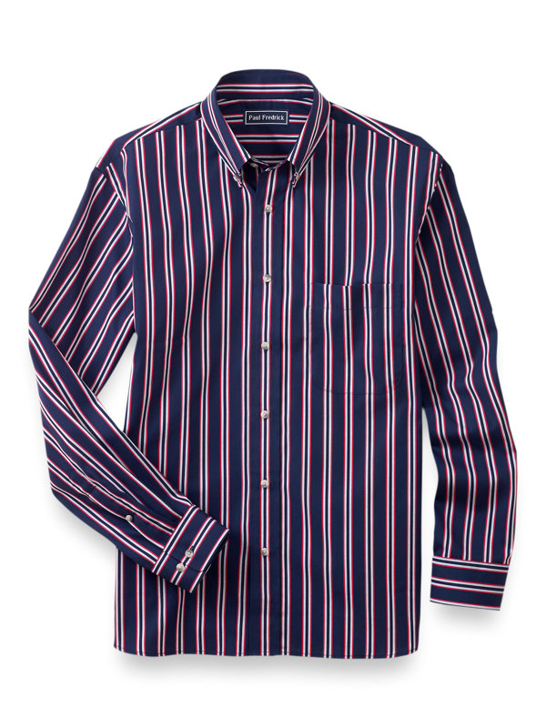 Slim Fit Easy Care Cotton Stripe Casual Shirt