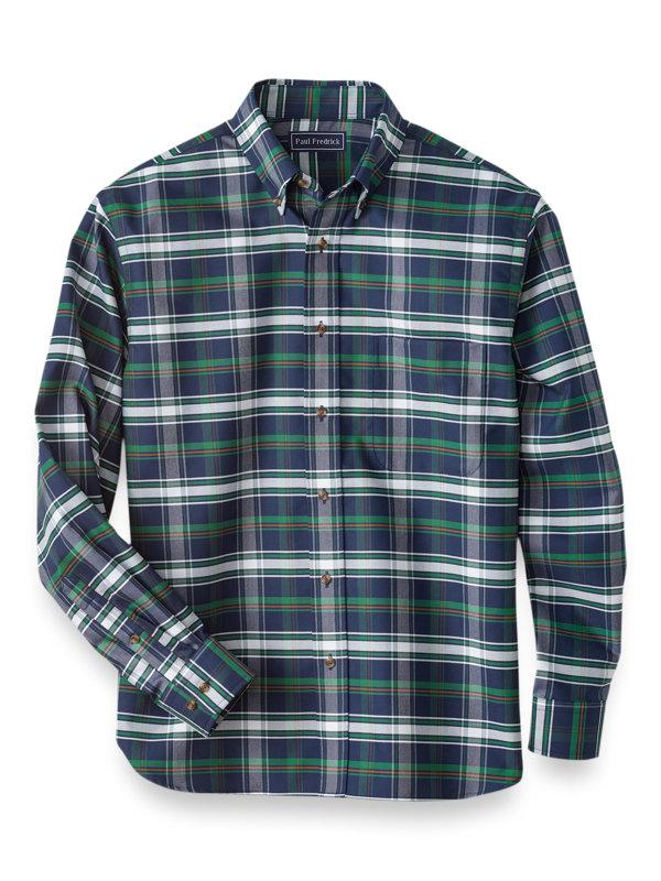 Easy Care Cotton Plaid Casual Shirt