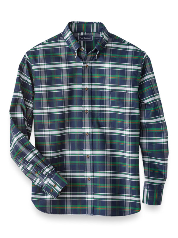 Easy Care Cotton Plaid Casual Shirt