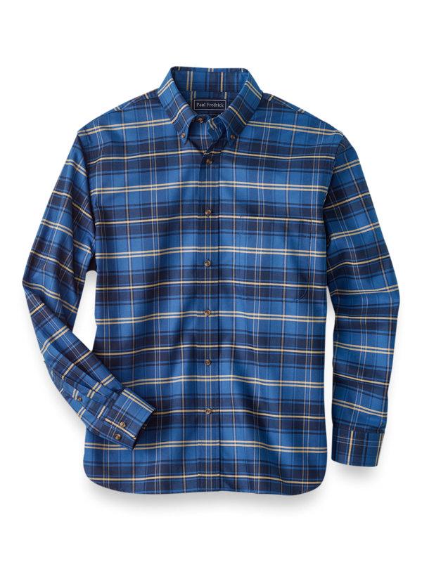 Slim Fit Easy Care Cotton Plaid Casual Shirt