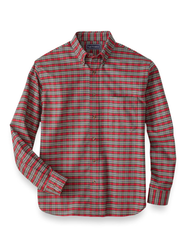 Slim Fit Easy Care Cotton Plaid Casual Shirt