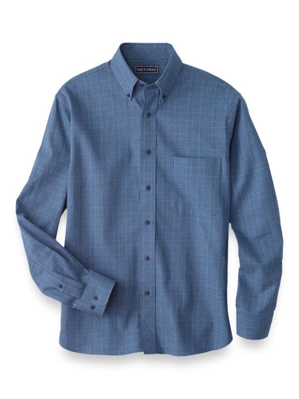 Cotton Cashmere Glen Plaid Casual Shirt