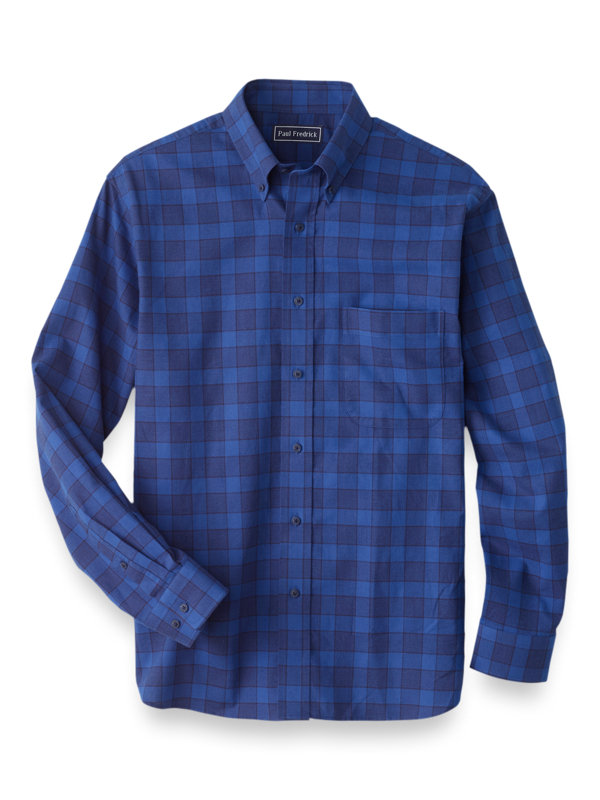 Slim Fit Cotton Cashmere Buffalo Plaid Casual Shirt