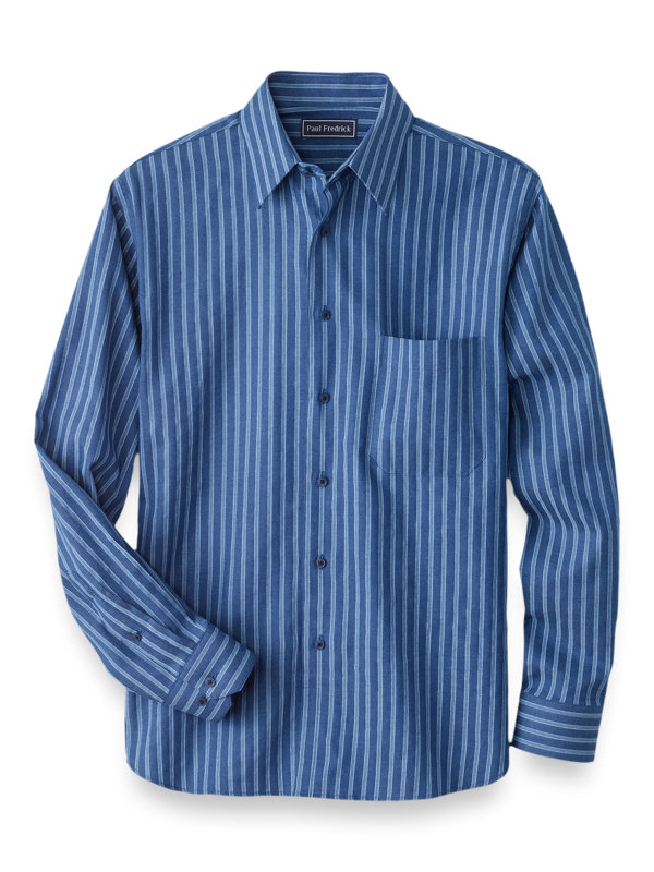 Slim Fit Cotton Cashmere Herringbone Casual Shirt